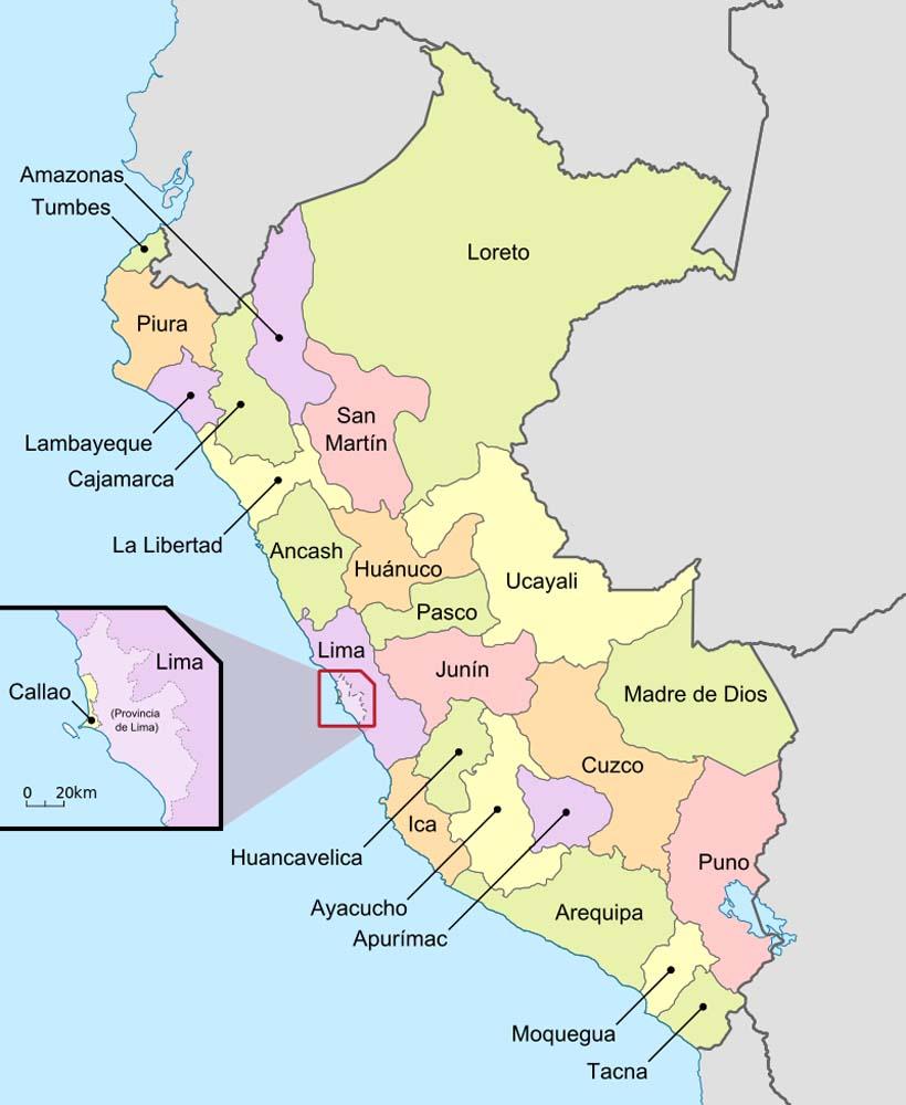 Departamentos de Perú, Mapa de Perú