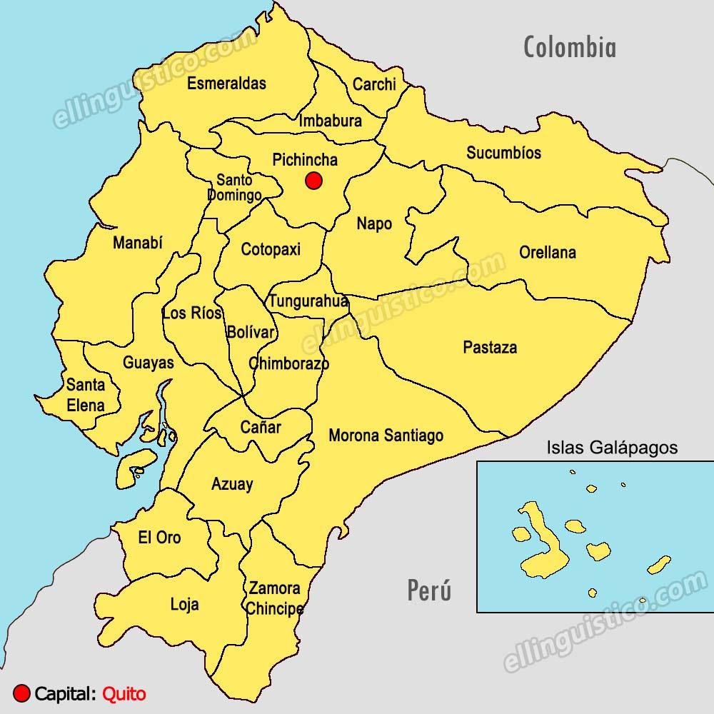 mapa de Ecuador, provincias de Ecuador